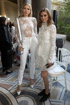 Olivia Palermo and Elena Perminova attends the Giambattista Valli Haute Couture Fall/Winter 20172018 show as part of Haute Couture Paris Fashion Week...