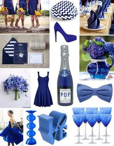 September Birthstone: Sapphire - Blue Wedding Decor ~if you do a daytime wedding you could put your girls in cocktail dresses and cowboy boots... Just saying ;)~
