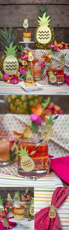 Host your own Luau Party with these cute DIY pineapple party decorations from handcrafted lifestyle expert Lia Griffith. Fiesta Party, Luau Party, Baby Party, Tortas Baby Shower Niña, Luau Baby Showers, Tropical Party, Diy Party Decorations, Holiday Parties, Party Time