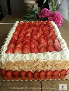 tort z frużeliną Polish Desserts, Polish Recipes, Baking Recipes, Cookie Recipes, Baking Utensils, Strawberry Cakes, Cream Cake, Cake Designs, Baked Goods
