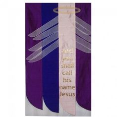 Advent banner of silk dupioni, silk organza and gold lame' created for St… Church Banners Designs, Church Decorations, Advent Wreath, Banner Ideas, Gold Lame, Episcopal Church, Sewing Art, Silk Organza, Church Ideas