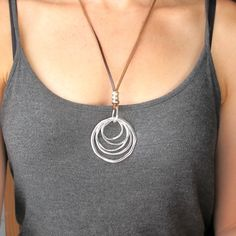 Boho Jewelry-Long BOHO Necklace-Concentric Rings Necklace-Leather and Silver Necklace-Bohemian Silver RING Necklace-Fashion Ring Necklace $26.99 (USD)