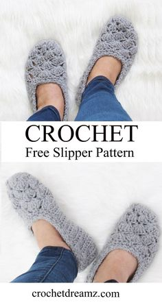 Free Crochet Slipper Pattern, Very easy! - Crochet Dreamz This is a free crochet slipper pattern that is perfect for beginners, a quick crochet project that will make great gifts. Make a pair today. Easy Crochet Slippers, Crochet Gloves, How To Crochet Socks, Knit Slippers Pattern, Knit And Crochet Now, Crochet Slipper Boots, Knit Shoes, Crochet Mittens, Felted Slippers