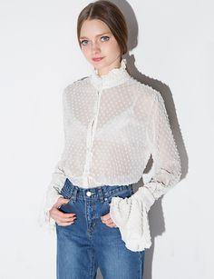 Swiss Dot Chiffon Bell Sleeve Shirt  $122.00