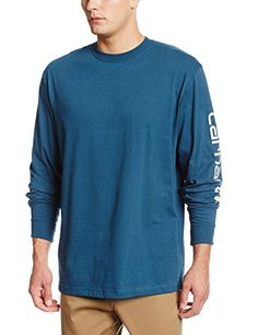 Carhartt Mens Signature Sleeve Logo Long Sleeve TShirt Original FitStream BlueXLarge *** Details can be found by clicking on the image. #MenOfficeAttire