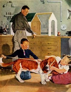 He'll never outgrow Friskies… detail from 1956 ad, art by Douglass Crockwell