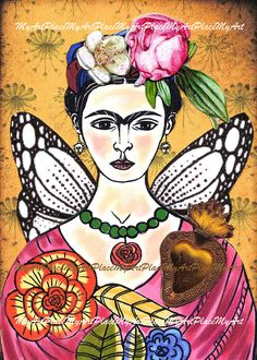 Frida Kahlo Art Original ACEO Collage Te Adoro by MyArtPlace