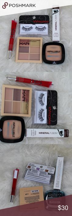 makeup BUNDLE L'OREAL Infallible pro-glow sand beige lasting glow powder comes with sponge   NYX Professional Makeup's perfecting and correcting palettes to Conceal   Ardell wispies   Mineral Fusion mascara ( BLACK )   VS beauty rush lip balm   EVERYTHING IS NWT NEVER HAS BEEN USED NO TRADES PLEASE MAKE ACTIVE OFFERS MAKEUP Makeup Mascara