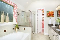 Gehan Homes Master Bathroom - Pink accents, granite countertops, white cabinets. Austin, Texas   Avalon - Palm #Gehanhomes