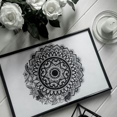beautiful flower-mandala illustration  from @miss_darkshire   FB: miss darkshire