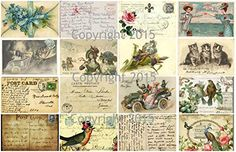 Vintage Printed French Post Cards Collage Sheet