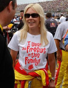 """When Kevin Harvick wrecked Joey Logano at Pocono in June 2010, Logano lashed out, saying that Harvick was only doing what his wife told him to do, because """"she wears the firesuit in the family."""" (AP)  Logano was partly right. DeLana Harvick was known for wearing a firesuit while on pit road during her husband's races. The Harvicks even turned Logano's comment into a marketing opportunity, producing T-shirts that read, """"I wear the firesuit in this family!"""""""