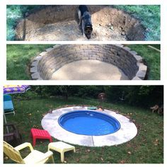 Mini-pool build using a stock tank from Tractor Supply. Then take it out in colder months & have a fire pit!