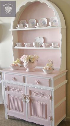 Shabby Chic ~ fanciful pink cabinet and hutch with lots of carving