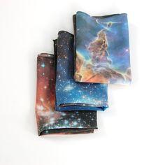 Galaxy Nebula Print Silk Pocket Squares for that space-themed wedding. $50.00, via Etsy.