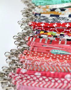 Wrist strap. key fob or key chain. Designer fabrics by edeenut (Accessories, Keychains & Lanyards, Keychains, key, fob, chain, wrist, strap, clip, purse, polka dot, key chain, wrist strap, chevron strap, wallet, bag)