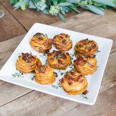 Oven roasted sweet potato stacks with bacon and maple glaze.
