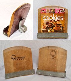 Great cookbook holder made from repurposed wine barrels from www.wineyguys.com