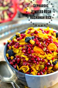 Perfect Rosh Hashanah side dish - The rice is infused with fragrant spices, sweetened with dried apricots, figs and cherries with a nice crunch form pomegranates and pistachios - #vegetarian #vegan #kosher #roshHashanah #jewish #rice #side #gluten free #sephardic #recipe #Side