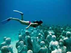 Underwater museum!  A monumental underwater museum called MUSA (Museo Subacuático de Arte) was formed in the waters surrounding Cancun, Isla Mujeres and Punta Nizuc.