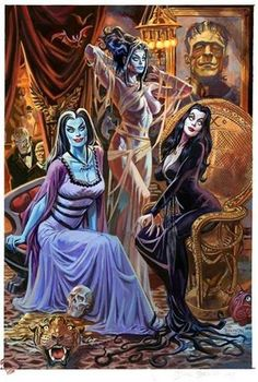 The Bride, Morticia, and Lily !