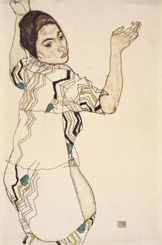 Egon Schiele Friederike Beer mit erhobenen Händen, 1914 Aquarell und Bleistift auf Papier 48 x 32 cm Sammlung E. W. K., Bern © Sammlung E. W. K., Bern/Lauri, Peter