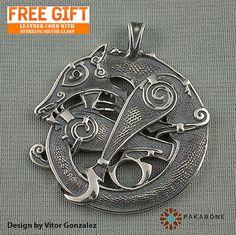 Scandinavian Wolf Fenrir Pendant Viking Jewelry Amulet by PAKABONE