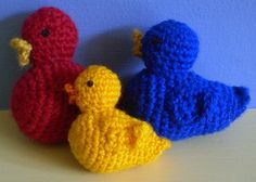"""Crochet Duck-This pattern is available as a free Ravelry download. A little crochet duck, worked in the round using double crochet (US single crochet) throughout. He measures 7cm / 3"""" long when made with double knitting weight yarn. Follow the same pattern using 4 ply yarn to crochet a duckling."""