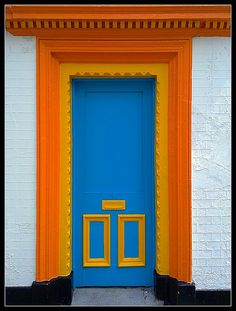 blue and orange door and trim - complimentary colors / highest contrast. 3 ms & yw