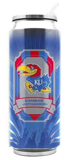 Kansas Jayhawks Stainless Steel Thermo Can - 16.9 ounces