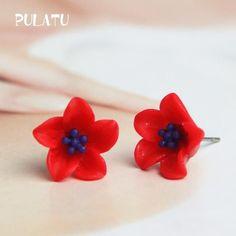 10 Color Flower Stud Earring For Women Resin Minimalist Small Earrings Fashion Jewelry PULATU HD118