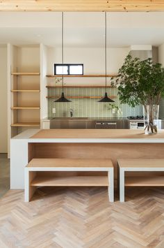 Herringbone floor, stainless steel AND wood counter tops, sink with no edge, those black pendants, Green Kitchen Cabinets, Kitchen Cabinet Layout, Kitchen Flooring, Kitchen Backsplash, Kitchen Furniture, Kitchen Interior, New Kitchen, Kitchen Wood, Kitchen Plants