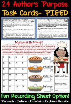 24 Author's Purpose Task Cards featuring the PIE'ED approach to teaching Author's Purpose.  Students read the passage on each task card and then answer the multiple choice question.  Great for test prep!
