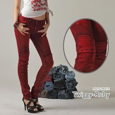 7524bf89f30f7 Damn I wish big had these red uglybros moto denim twiggy pants