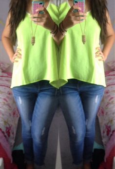 Neon tank and skinnies.