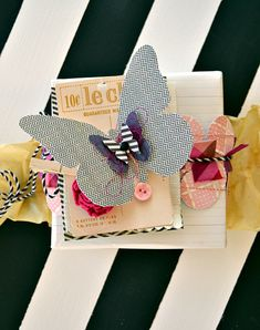 Homemade gift wrap using paper scraps.