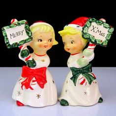 Merry Christmas Boy Girl Napco Vintage Salt and Pepper s P Shaker Set Pots | eBay