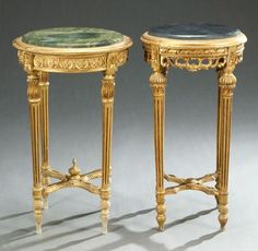 973: TWO LOUIS XVI STYLE CARVED GILTWOOD GUERIDONS, 19t : Lot 973