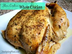My house smells amazing as this Slow Cooker Whole Chicken Recipe is cooking all day. I have free time while the dinner prepares it self! #glutenfree
