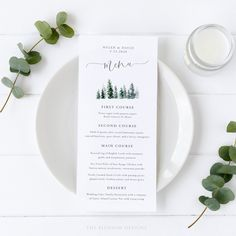 Pine Tree Wedding Menu Template Printable Wedding Menu | Etsy