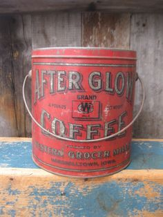 7.5in high x 7.5in across. LG Early Antique After Glow Coffee Tin Pail Marshalltown Iowa