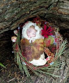 FAIRY baby in magical nest by WishaMagicForest on Etsy