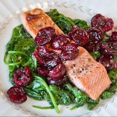 Bing cherries are sweet, yet when you roast them, their tangy essence really emerges. This makes a spectacular addition to salmon & spinach in this easy to make dish.