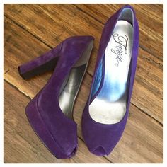 """Purple Suede Platform Heels Suede chunky platform heels in purple. Slight peep toe. Only worn a few times and in amazing condition. 4"""" heel with a 1"""" platform. Fit true to size and pretty comfortable to wear. Fergie Shoes Platforms"""
