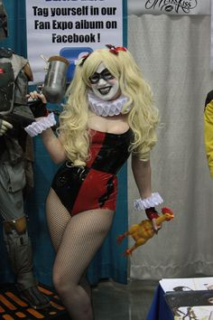 Miss Kiss as Harley Quinn at The Toy Traders Booth Miss Kiss, Harley Quinn, Vancouver, Halloween Face Makeup, Toy, Character, Game, Toys, Lettering