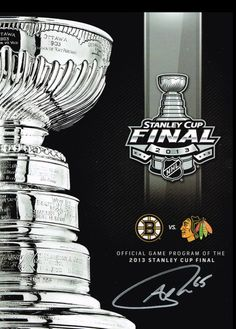 Andrew Shaw signs the Stanley cup finals program