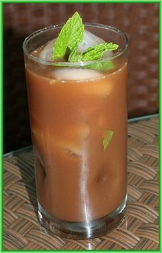 This is a cool and refreshing drink that will help to settle an upset stomach: Iced Crio Bru cocoa infused with fresh mint!