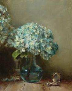 Lois Eakin — Blue Hydrangeas and Watch  (551x700)