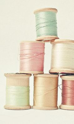 Vintage pastel Spools of Thread ~Touches of Color~