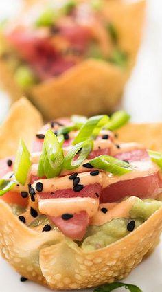 Tuna Tartare with Avocado and Sriracha Aioli in a Baked Wonton Cups